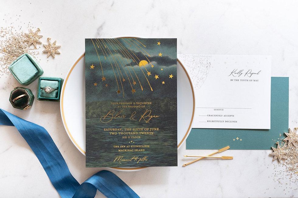 under the stars wedding invitation, starry night wedding, under the stars wedding theme, gold foil wedding invitation