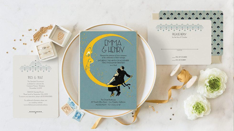 Swinging Moon Great Gatsby Wedding Invitations