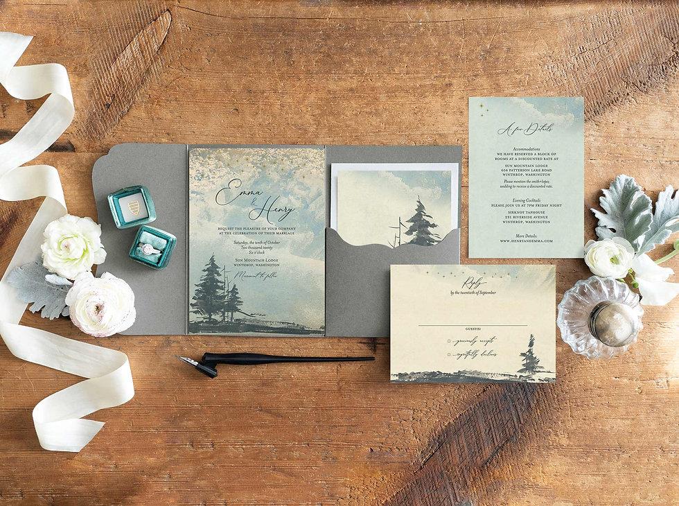 forest_wedding_invitation_rustic, rustic wedding stationey, custom wedding stationery, mountain wedding invtations, pine tree invitations, celestial wedding invitations