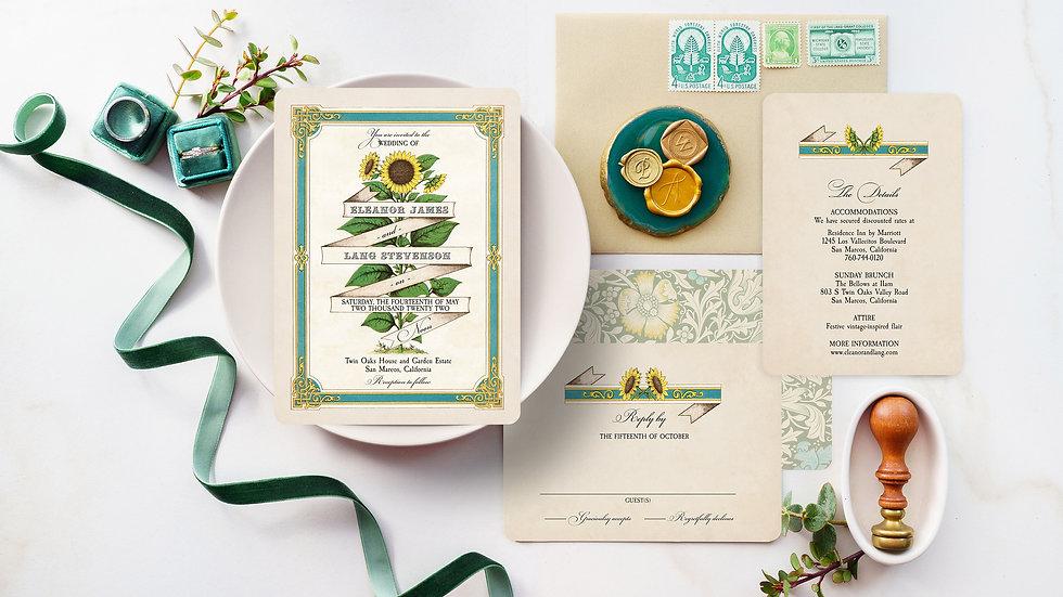 Vintage Sunflower Wedding Invitation Suite