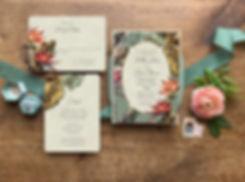 tropical wedding invitations, tiki wedding invitations, hawaiian wedding invitations, palm wedding invitations, hibiscus wedding invitations