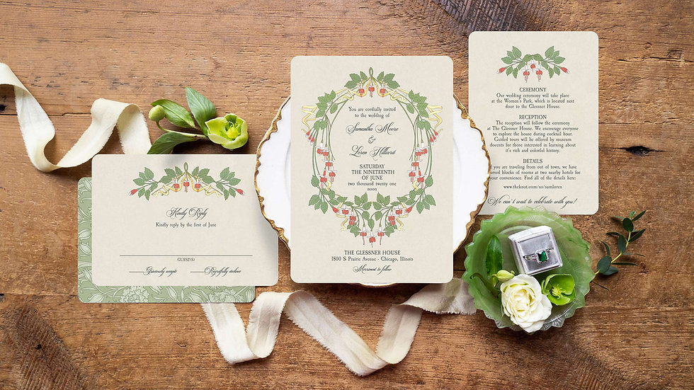Delphine Vintage Inspired Wedding Invitations