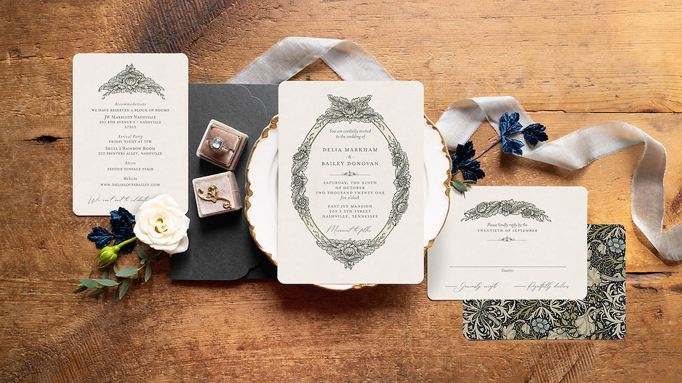 Vintage Inspired Flourish Invitation - Vintage Frame