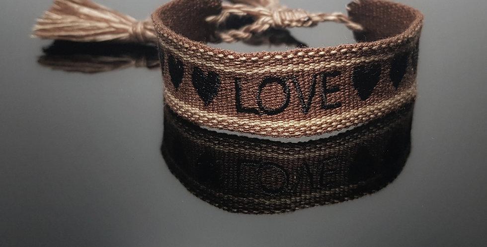 Webarmband Love, braun