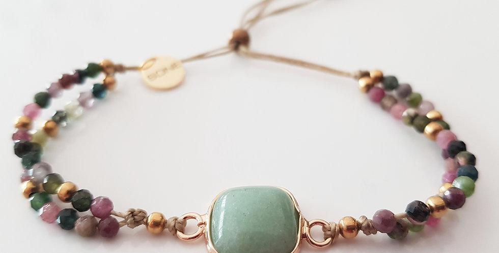 Armband Turmalin mehrfärbig, gold
