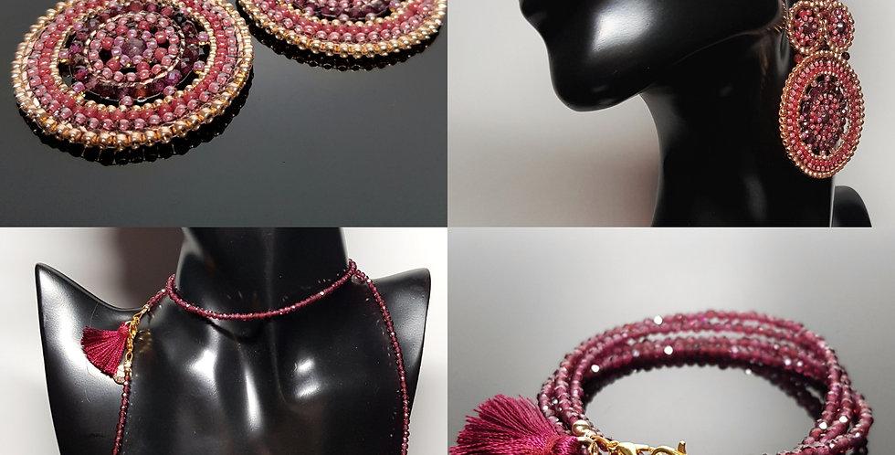 SET Ohrringe & Variantenkette Granat, rosegold