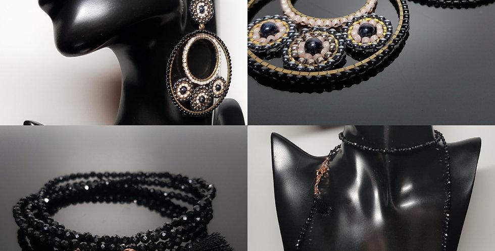 SET Ohrringe & Variantenkette schwarz, gold