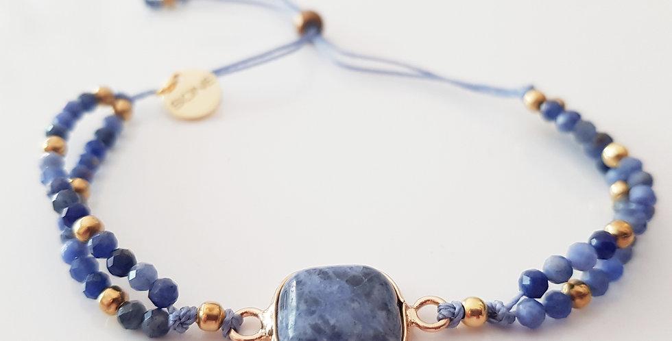 Armband Sodalith blau, gold