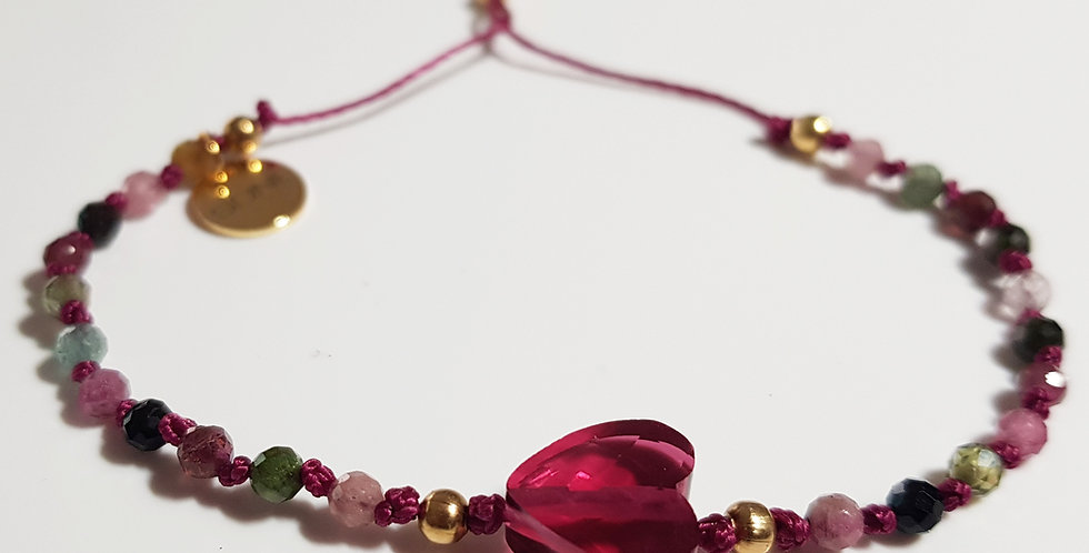 Armband Turmalin mehrfärbig, pink, gold