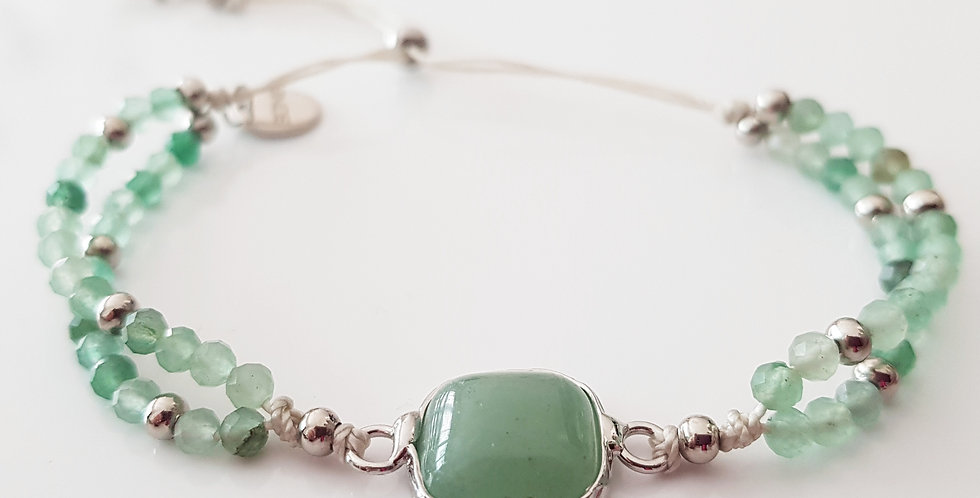 Armband Aventurin grün, silber