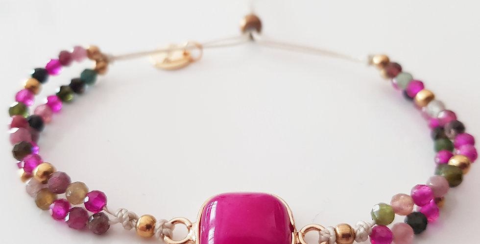 Armband Rubin pink, gold