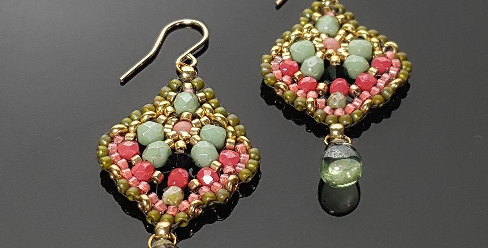 Träne Mini, grün, koralle, gold