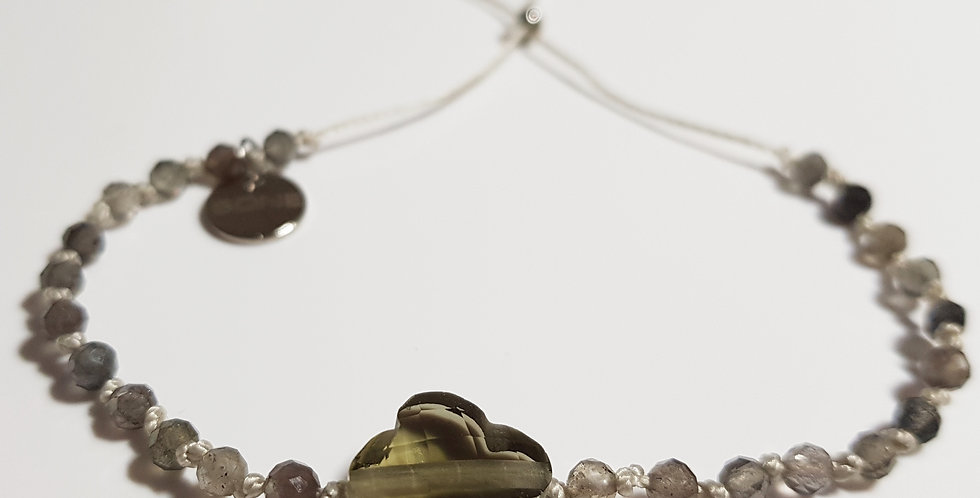 Armband Turmalin grau, beige, silber