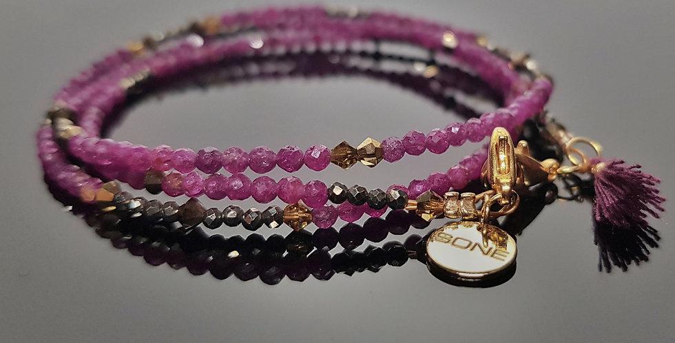 Variantenkette Rubin rubinrot, gold