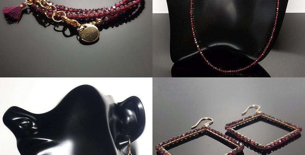 SET Ohrringe & Variantenkette Granat, gold