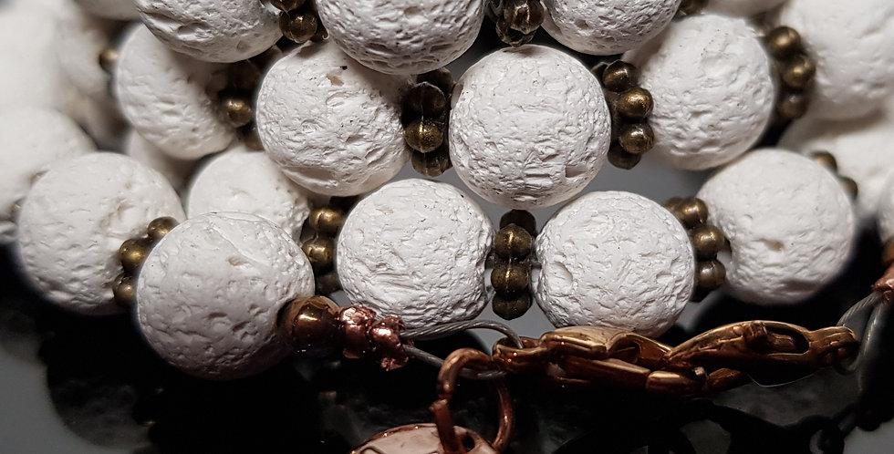 Variantenkette Lavaperlen weiß, rosegold