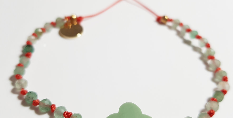 Armband Aventurin mintgrün, koralle, gold