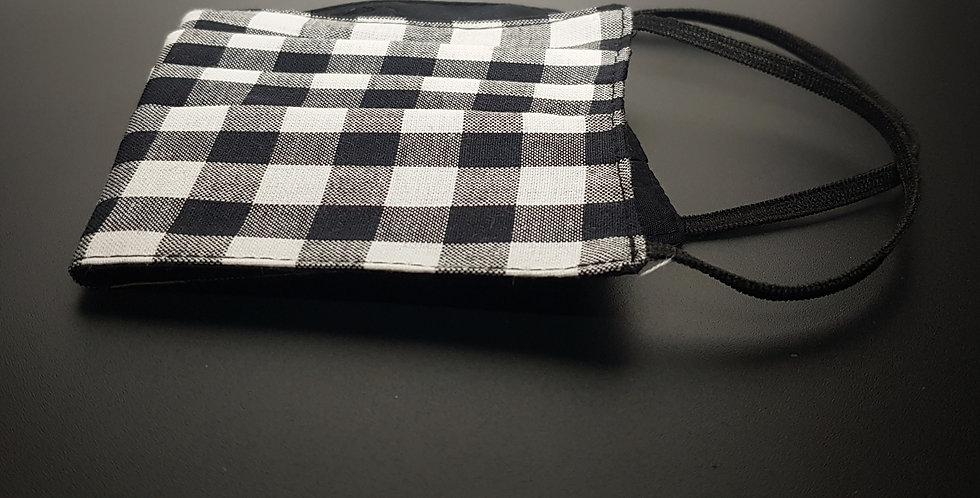 MASKE Baumwolle, schwarz weiß Karo