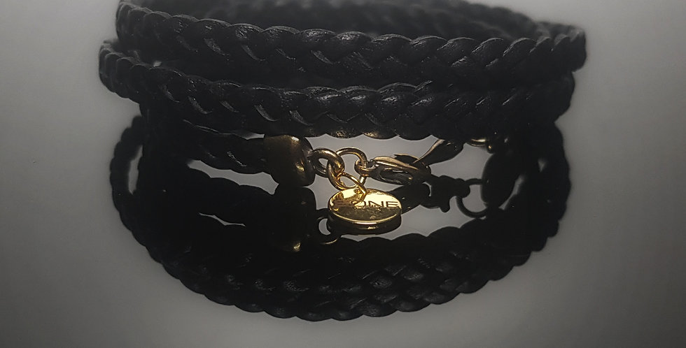 Variantenkette Leder geflochten, schwarz