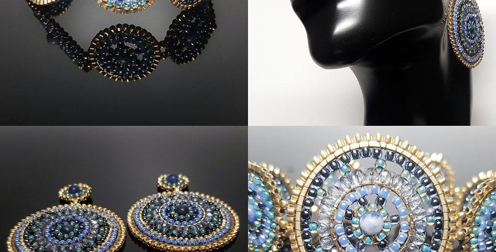 SET Ohrringe & Armband blau, gold