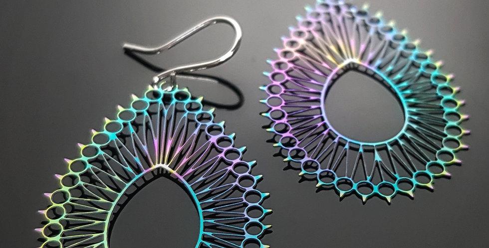 Filigrane Ohrringe regenbogenfarben, silber