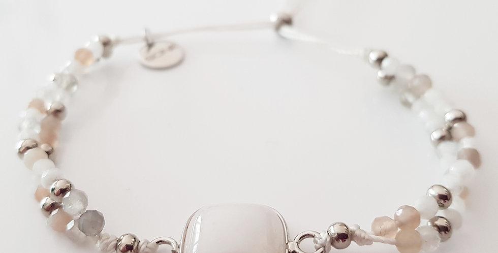 Armband Mondstein beige, silber
