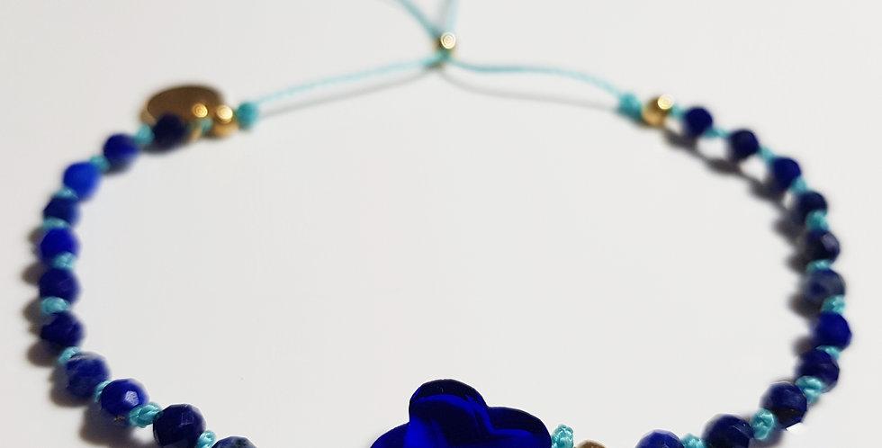 Armband Lapislazuli blau, türkis, gold