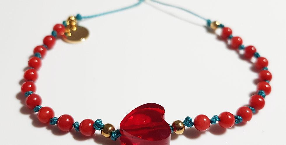 Armband Koralle rot, türkis, gold