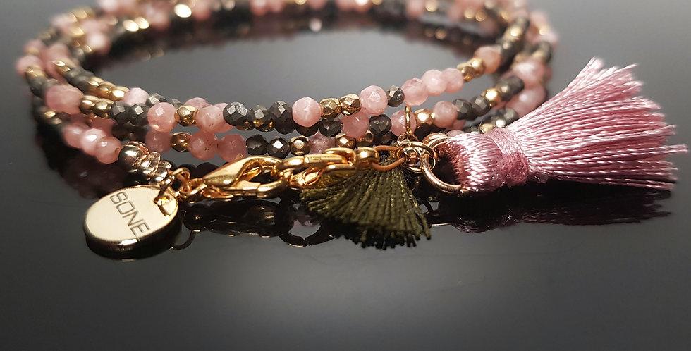 Variantenkette Rhodochrosit rosa, gold