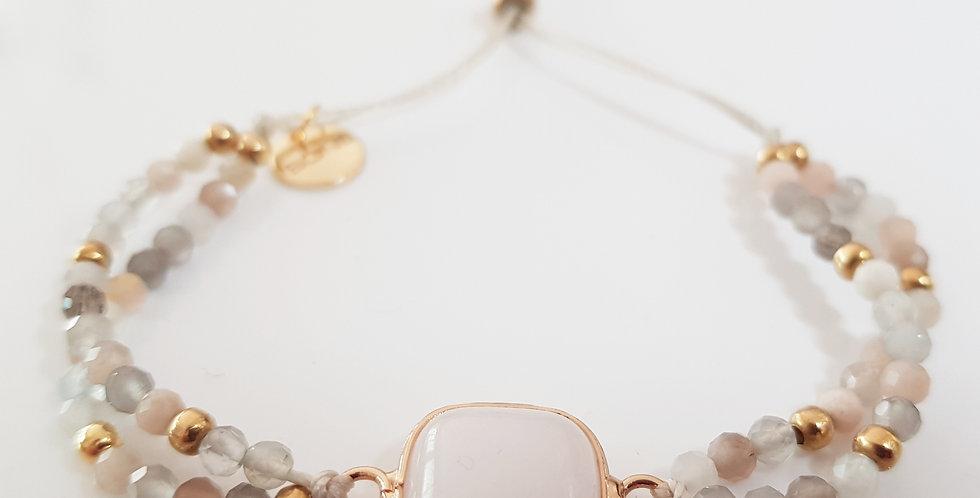 Armband Mondstein beige, gold
