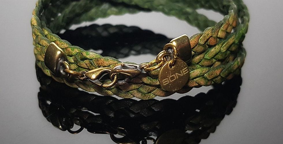 Variantenkette Leder geflochten, vintagegrün
