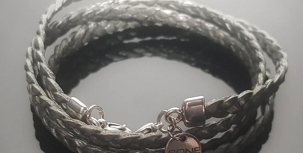 Variantenkette Leder geflochten, silbergrau