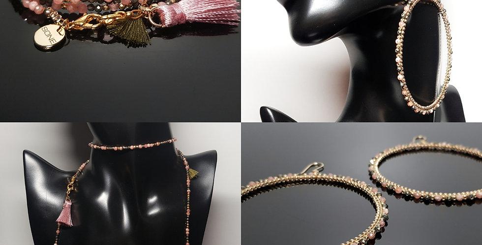 SET Ohrringe & Variantenkette rosa, gold