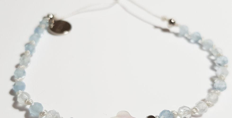 Armband Aquamarin hellblau, weiß, silber