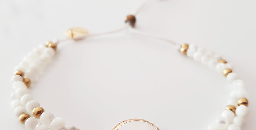 Armband Perlmutt weiß, gold