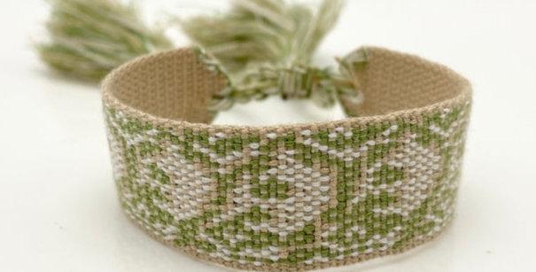 Webarmband grün, natur