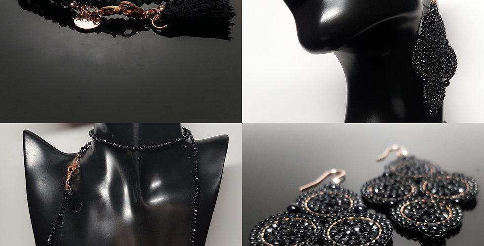 SET Ohrringe & Variantenkette schwarz, rosegold