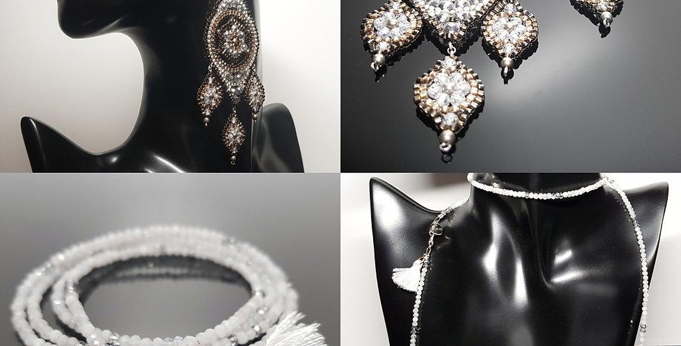 SET Ohrringe & Variantenkette weiß, silber