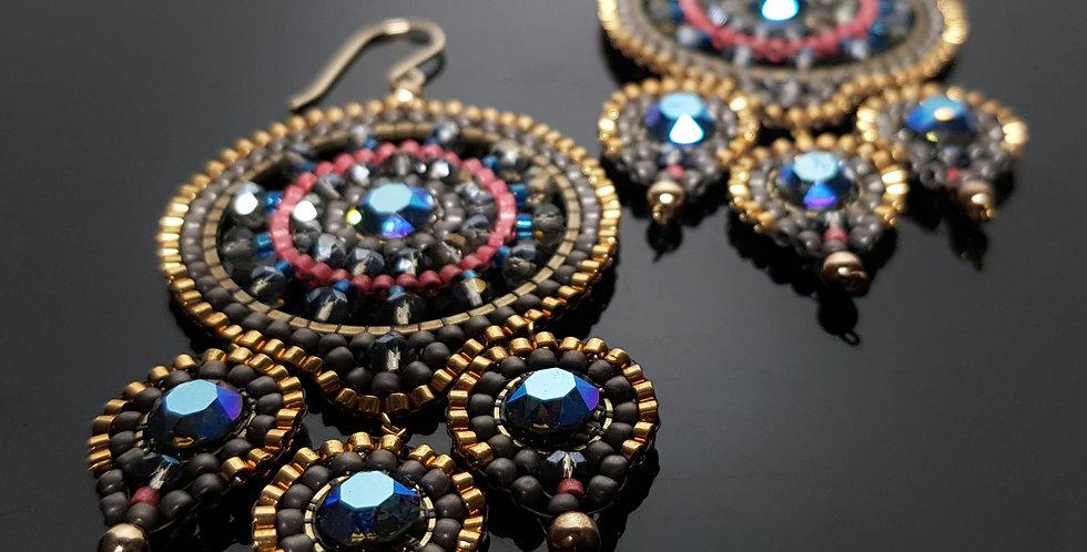 Dreiblatt Swarovski blau, gold
