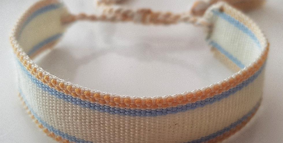 Webarmband natur, hellblau, gelb