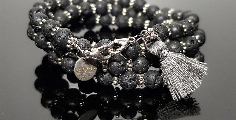 Variantenkette Lavaperlen schwarz, silber