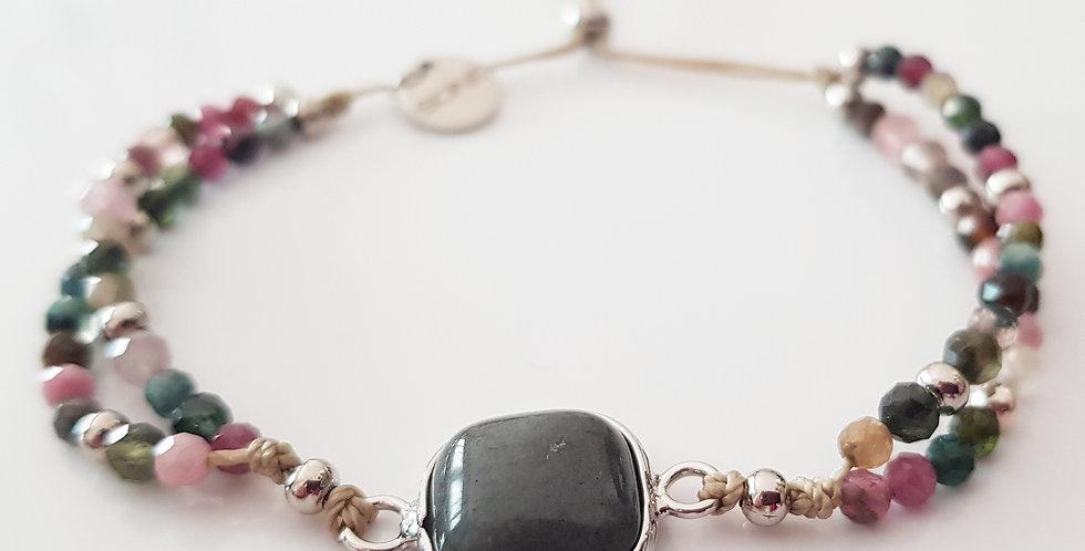 Armband Turmalin mehrfärbig, silber