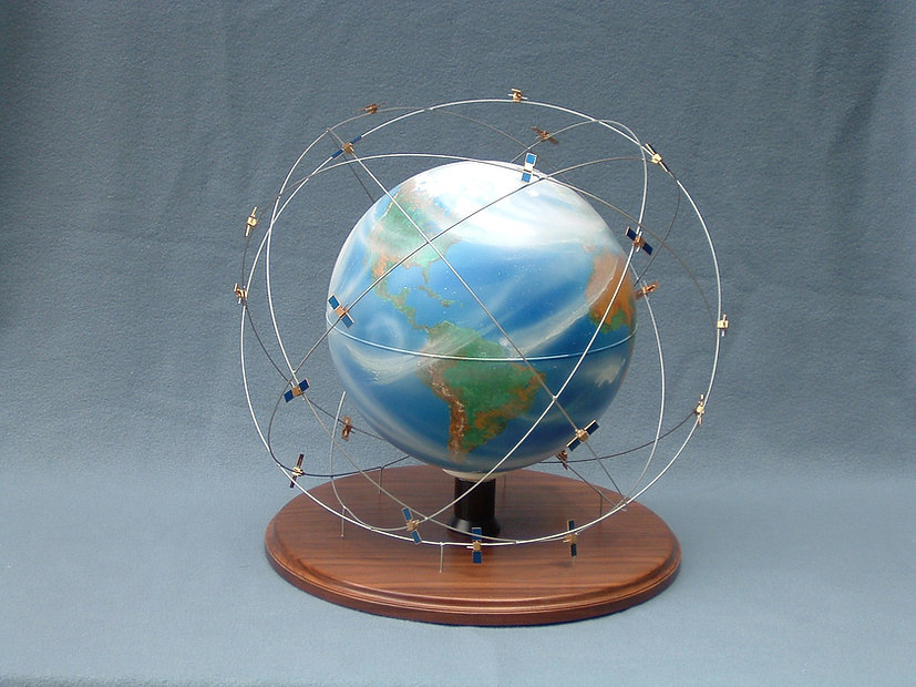 Space model of earth and satellites