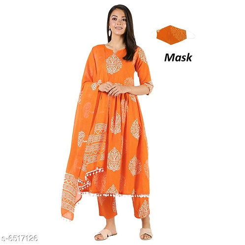Attractive Women's Kurta Set And Mask Combo