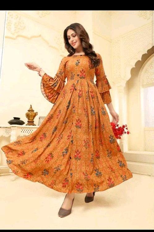 Adorable Orange Digital Printed Designer Gown