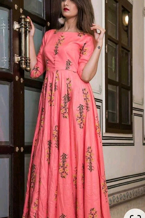Adorning Pink Colored Partywear Digital Printed Tapeta Silk Gown