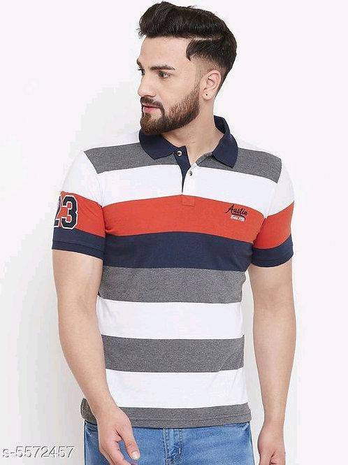 Austin Wood Men's Multi Striped Polo Neck Tshirts