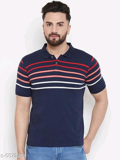 Austin Wood Men's Navy blue Striped Polo Neck Tshirts