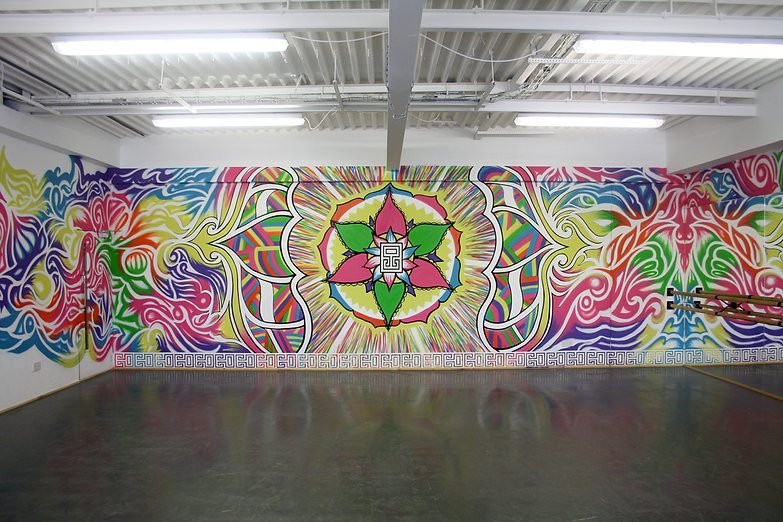 Psychedelic Mandala Street Art Mural by Eccentric O