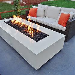 Modern White Concrete Fire Table, ...